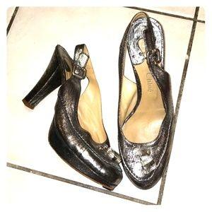 """💕Chloé Designer metallic 4.5"""" heels sz 38.5"""